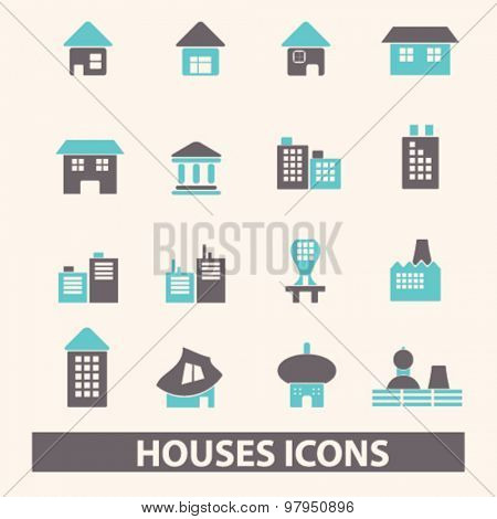 houses, buildings, real estate flat isolated icons, signs, illustrations set, vector