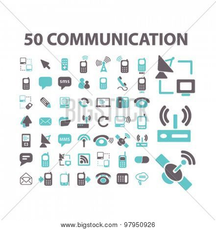50 communication, connection, technology, phone, smartphone flat isolated icons, signs, illustrations set, vector