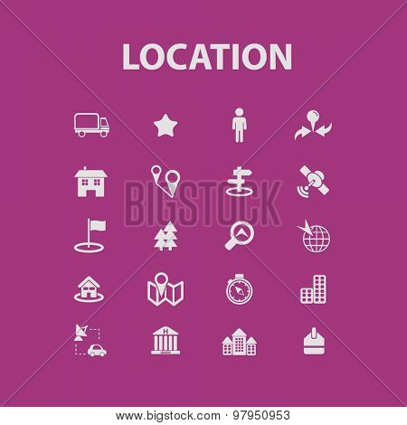 location, way, route flat web isolated icons, signs, illustrations set, vector on background