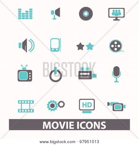 movie, cinema, video flat isolated icons, signs, illustrations set, vector