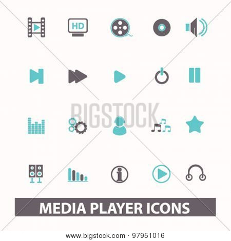 media player, video, audio, film flat isolated icons, signs, illustrations set, vector