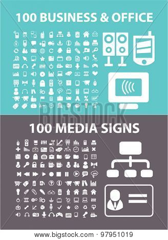 200 business, media, office flat isolated icons, signs, illustrations set, vector