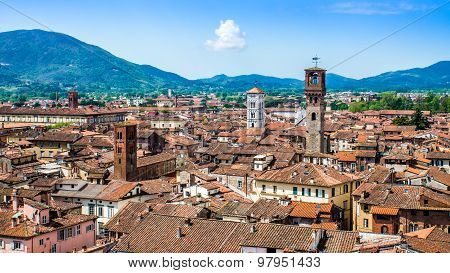 Cityscape Of Lucca, In Tuscany, Italy