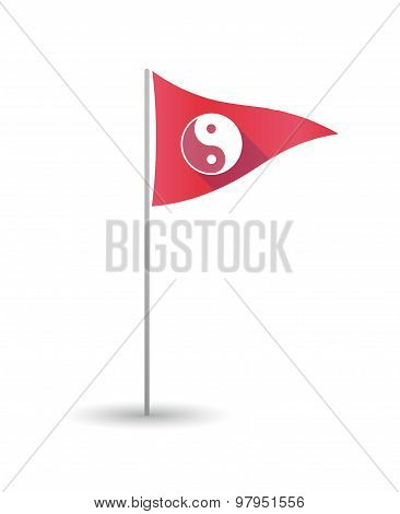 Golf Flag With A Ying Yang