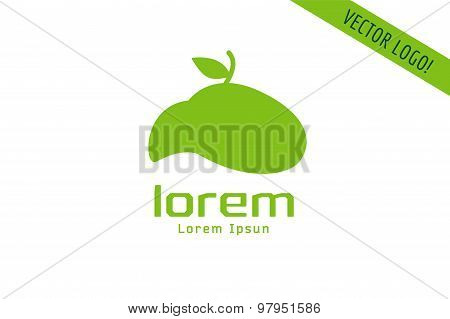 Vector apple abstract logo template. Green nature shape and fruit fresh symbol, icon, food or vegeta