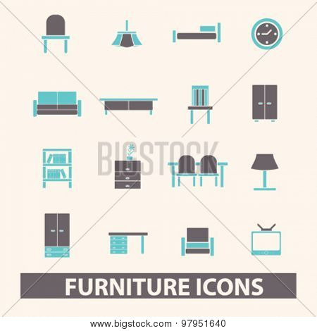 furniture, interior, room decor flat isolated icons, signs, illustrations set, vector