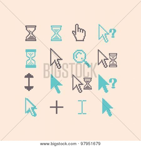 cursors, interface, select, modify, hand, time flat isolated icons, signs, illustrations set, vector