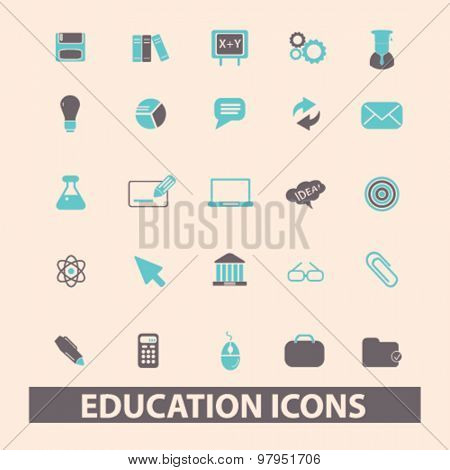education, lesson, study, science flat isolated icons, signs, illustrations set, vector
