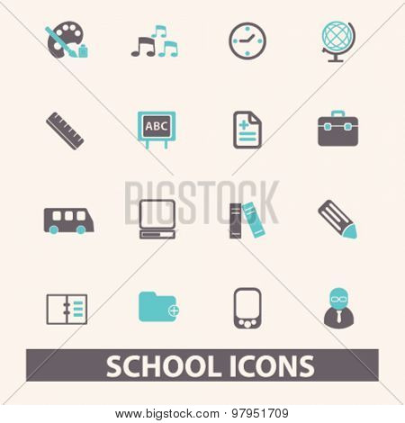 school, education, lesson flat isolated icons, signs, illustrations set, vector