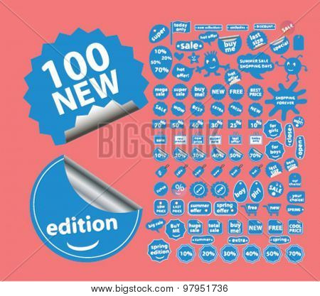100 shopping, shop stickers, labels, illustrations, signs vector set