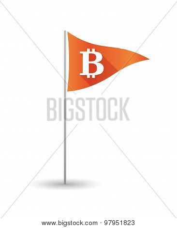 Golf Flag With A Bit Coin Sign