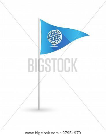 Golf Flag With A World Globe