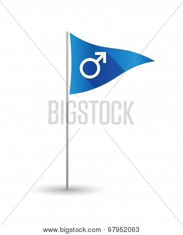 Golf Flag With A Male Sign