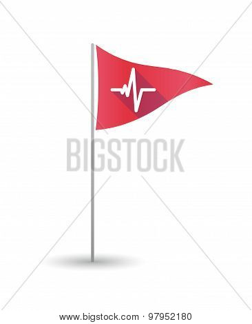 Golf Flag With A Heart Beat Sign