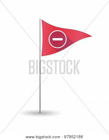 Golf Flag With A Subtraction Sign