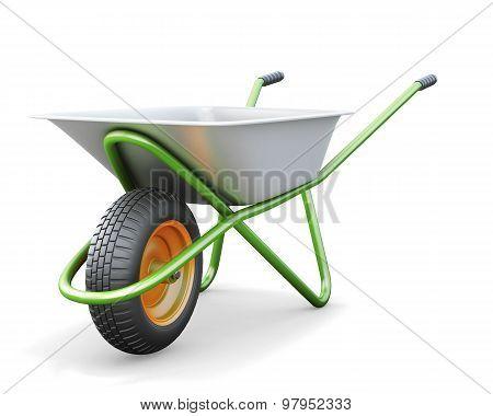 Wheelbarrow On A White