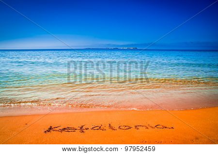 Kefalonia Written On Sandy Beach In Greece.