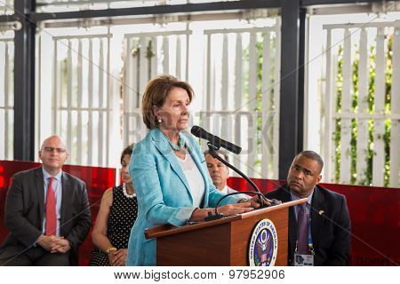 Nancy Pelosi Making A Speech At Expo 2015 In Milan, Italy