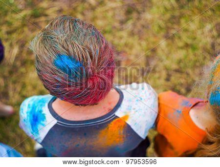 Boy's Head In Paint Powder
