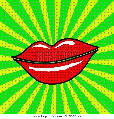 Vector red lips on a green background