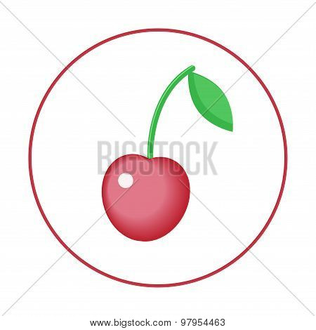 Vector Illustration Of One Cherry In The Circle. Red Single Berry Isolated On The White Background.