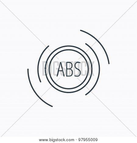 ABS icon. Brakes antilock system sign.