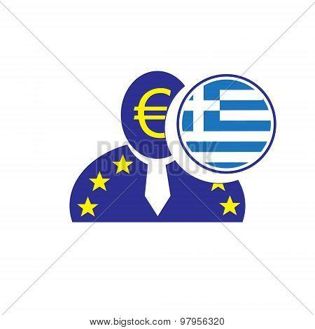 European Union Man Icon With Euro Symbol And Greek Flag Symbolizing The Greece Leaving The Eu.