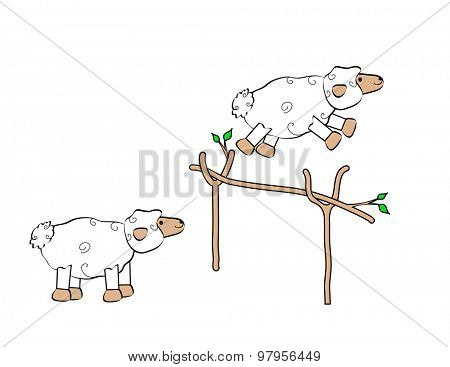 Two sheep jumping over a fence.