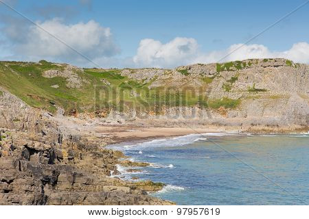 Welsh coast cove Fall Bay The Gower peninsula South Wales UK near to Rhossili beach and Mewslade