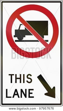 Trucks Forbidden Right Lane In Canada