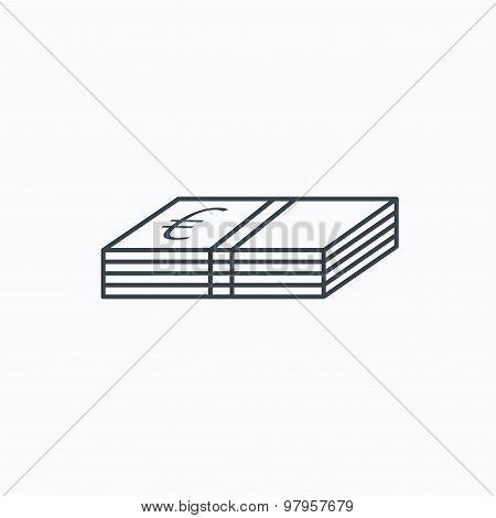 Cash icon. Euro money sign.