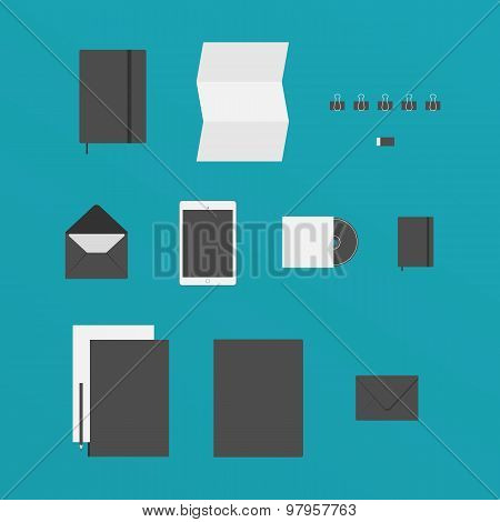 Flat Design of office Stuff like a Paper, Tablet, Folders