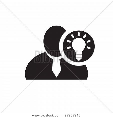 Black Man Silhouette Icon With Bulb Symbol In An Information Circle, Flat Design Icon For Forums Or
