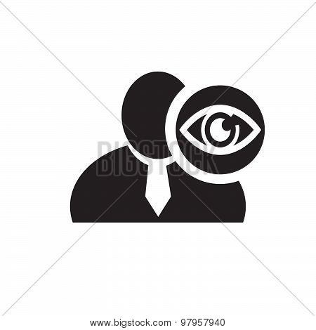 Black Man Silhouette Icon With Eye Symbol In An Information Circle, Flat Design Icon For Forums Or W