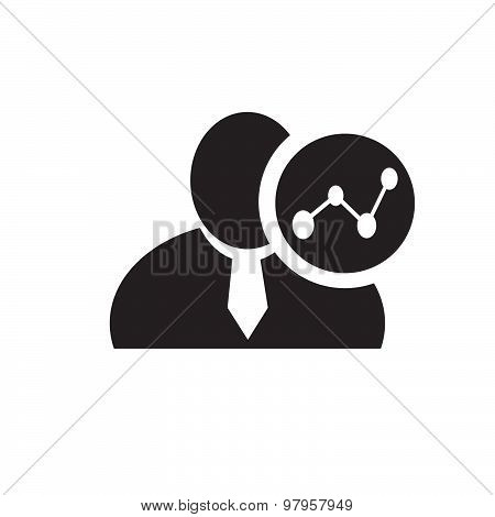 Black Man Silhouette Icon With Chart Symbol In An Information Circle, Flat Design Icon For Forums Or