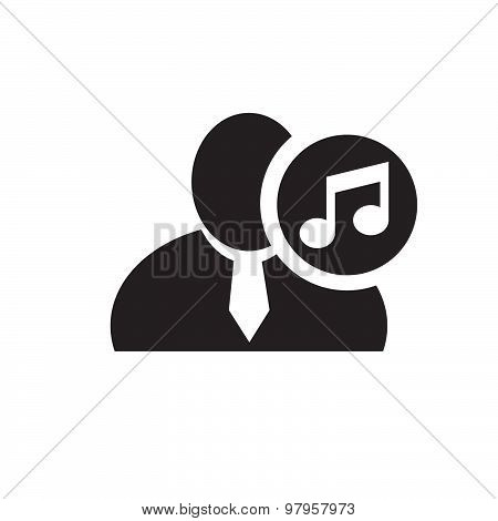 Black Man Silhouette Icon With Music Note Symbol In An Information Circle, Flat Design Icon For Foru