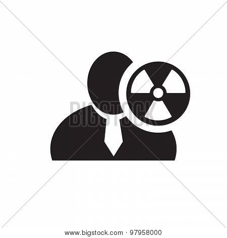 Black Man Silhouette Icon With Radioactivity Danger Symbol In An Information Circle, Flat Design Ico