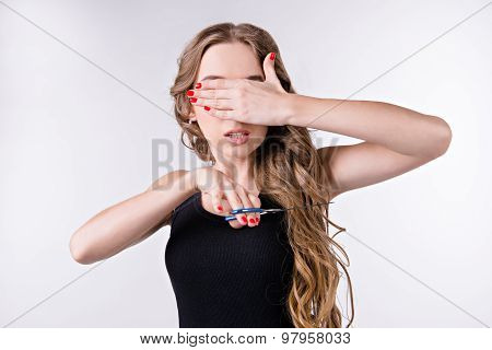 Young Woman Scared Of Cutting Her