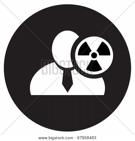 White Man Silhouette Icon With Radioactivity Danger Symbol In An Information Circle, Flat Design Ico