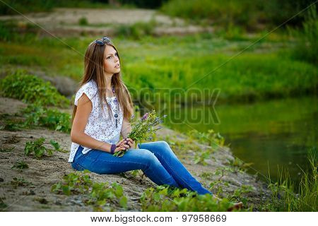 Teen Girl Boho Barefoot On Riverbank.