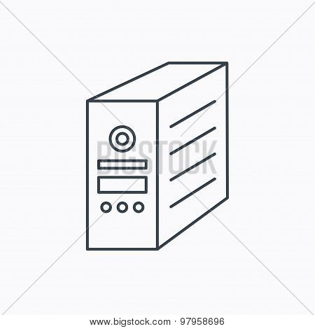 Computer server icon. PC case or tower sign.