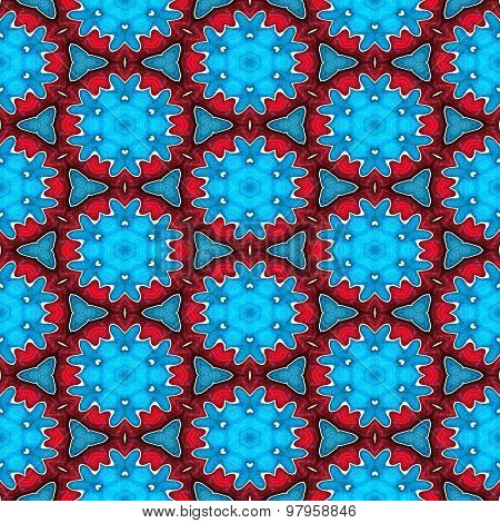 Abstract Blue Stars Or Snowflakes On The Red Background  For Christmas Design Made Seamless