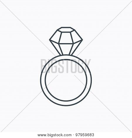 Ring with diamond icon. Jewellery sign.