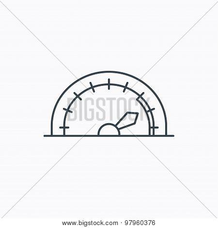 Speedometer icon. Speed tachometer with arrow.