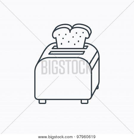 Toaster icon. Sandwich machine sign.