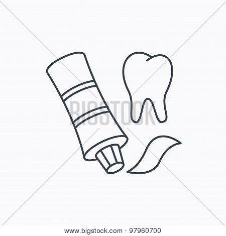 Toothpaste icon. Teeth health care sign.
