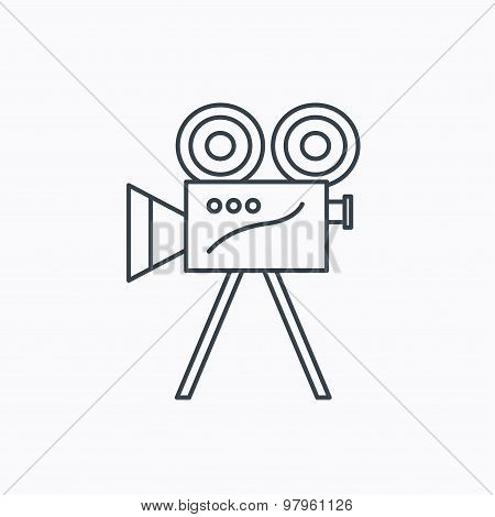 Video camera icon. Retro cinema sign.