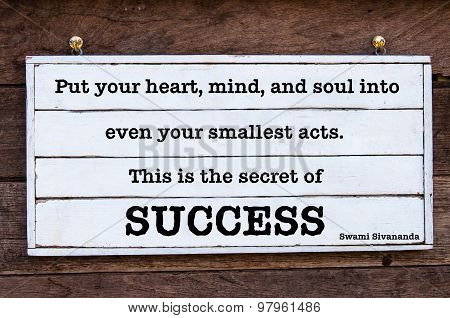 Inspirational Message - The Secret Of Success, Quote By Swami Sivananda