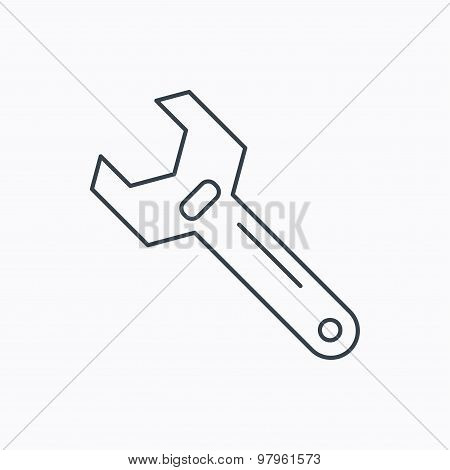 Wrench key icon. Repair tool sign.