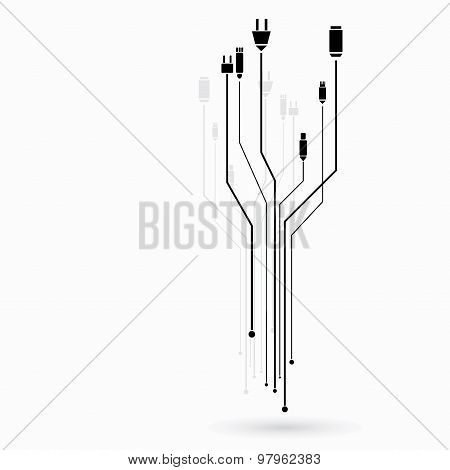 Different connection plugs and wires